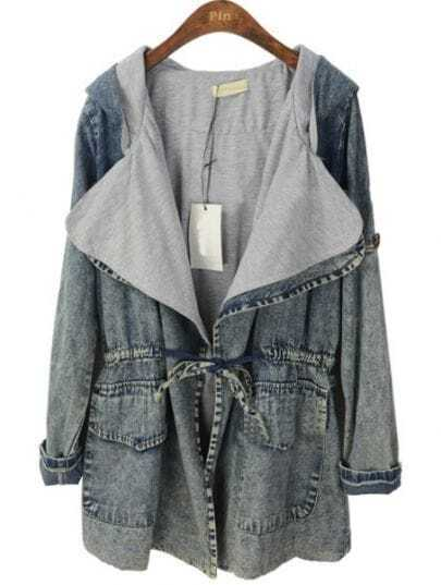 Blue Hooded Long Sleeve Batwing Snowflake Denim Trench Coat