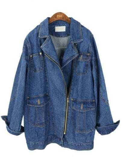 Blue Lapel Long Sleeve Zipper Pockets Denim Coat