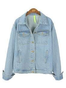 Light Blue Lapel Long Sleeve Pockets Denim Coat
