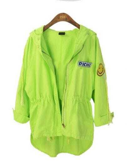 Light Green Hooded Long Sleeve Drawstring Cartoon Coat