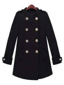 Black Long Sleeve Epaulet Double Breasted Tweed Coat