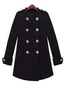 Black Long Sleeve Epaulet Double Breasted Tweed Coat