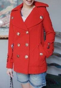 Red Lapel Long Sleeve Buttons Embellished Tweed Coat