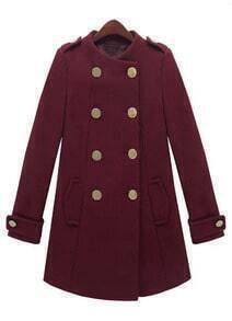 Wine Red Long Sleeve Epaulet Double Breasted Tweed Coat