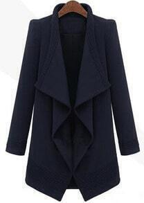 Navy Long Sleeve Drawstring Waist Asymmetrical Coat