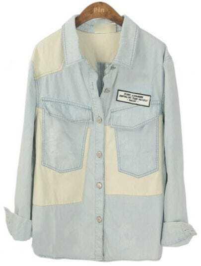 Light Blue Lapel Long Sleeve Patch Pockets Blouse