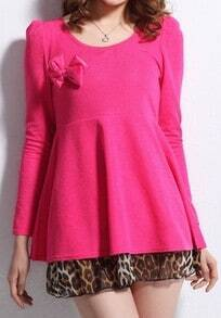 Rose Red Long Sleeve Bow Leopard Ruffles Blouse
