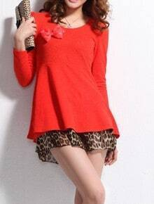 Orange Long Sleeve Bow Leopard Ruffles Blouse