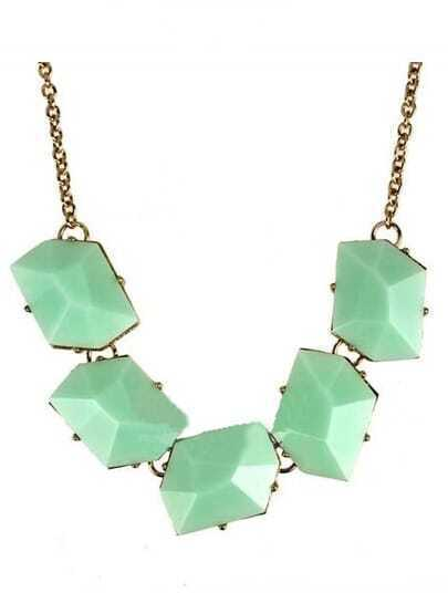 Green Diamond Gold Long Necklace