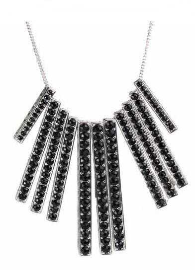 Black Diamond Vertical bars Silver Necklace