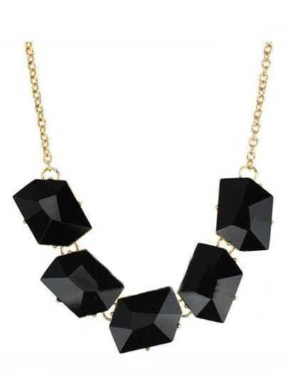 Black Diamond Gold Long Necklace