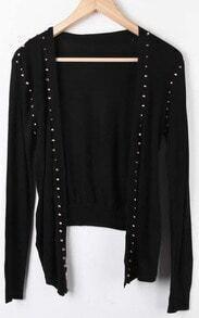 Black Long Sleeve Rivet Asymmetrical Cardigan Sweater