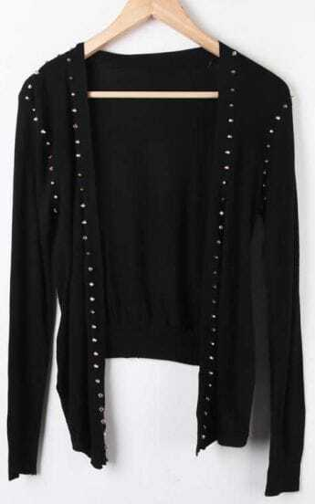 Black Long Sleeve Rivet Asymmetrical Cardigan Sweater