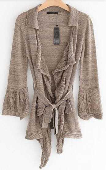 Light Coffee Long Sleeve Drawstring Waist Cardigan Sweater