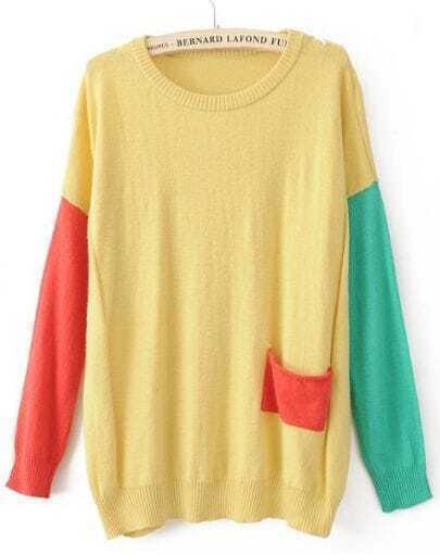Yellow Round Neck Long Sleeve Pocket Embellished Sweater