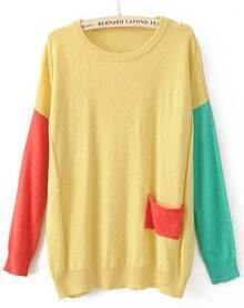 Yellow Round Neck Long Sleeve Pocket Embellished Sweater