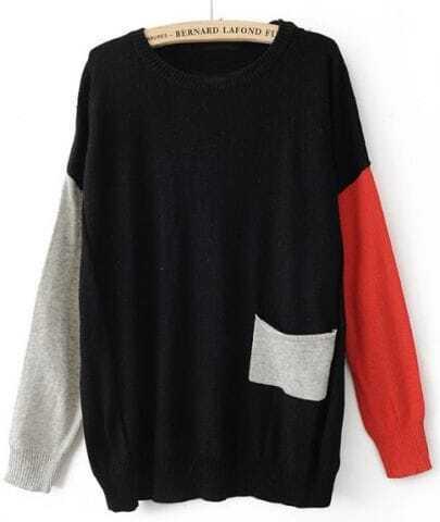 Black Round Neck Long Sleeve Pocket Embellished Sweater