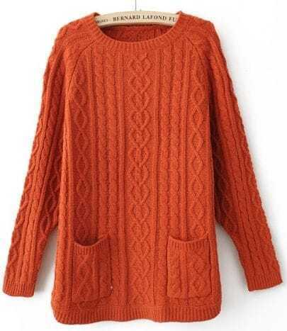 Orange Batwing Long Sleeve Pockets Pullovers Sweater