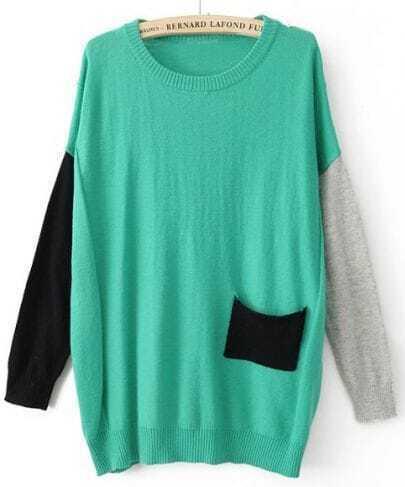 Green Round Neck Long Sleeve Pocket Embellished Sweater
