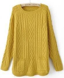 Yellow Batwing Long Sleeve Pockets Pullovers Sweater