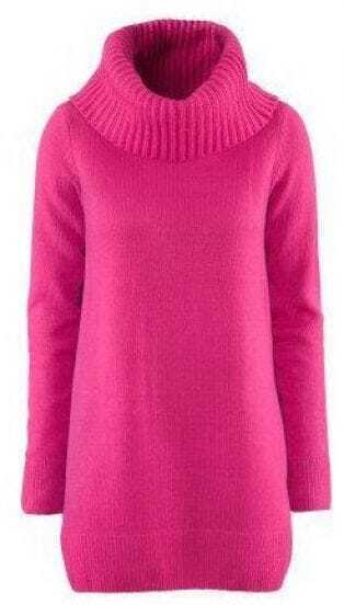Red High Neck Long Sleeve Pullovers Sweater