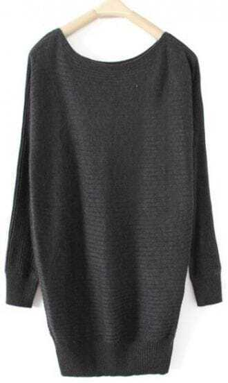Dark Grey Boat Neck Long Sleeve Pullovers Sweater