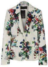 White Notch Lapel Long Sleeve Floral Suit