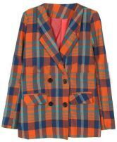 Orange Notch Lapel Long Sleeve Plaid Pockets Suit