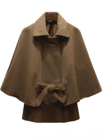 Camel Lapel Batwing Sleeve Buttons Cape Coat