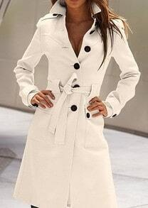 White Long Sleeve Drawstring Waist Back Buttons Coat