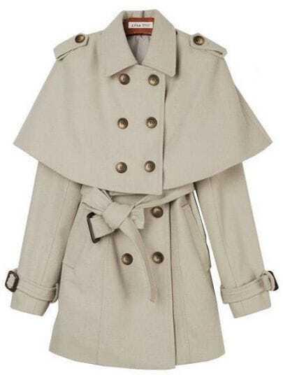 Beige Lapel Removable Cape Epaulet Coat