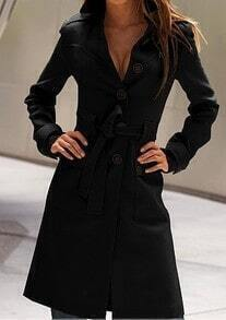 Black Long Sleeve Drawstring Waist Back Buttons Coat