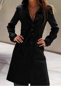 Black Long Sleeve Drawstring Waist Back Buttons Coat