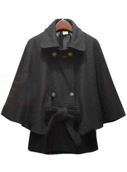 Black Lapel Batwing Sleeve Buttons Cape Coat