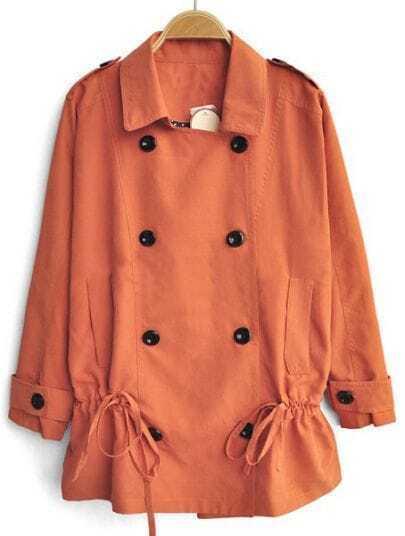 Orange Long Sleeve Drawstring Waist Batwing Trench Coat