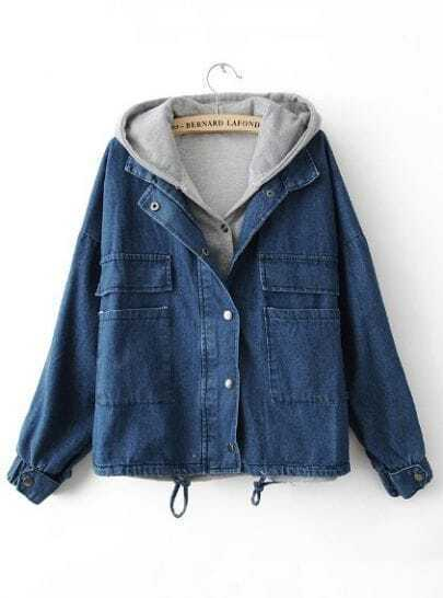 Dark Blue Hooded Long Sleeve Pockets Denim Coat