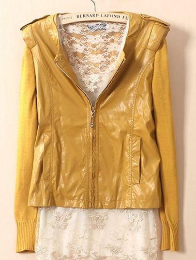 Yellow Long Sleeve Zipper PU Leather Coat