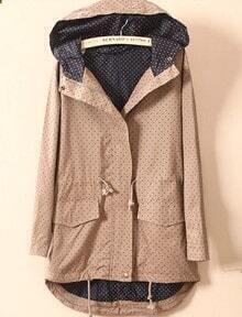 Khaki Hooded Long Sleeve Polka Dot Pockets Coat