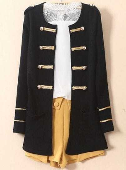 Black Long Sleeve Epaulet Cardigan Trench Coat