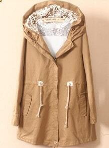 Khaki Hooded Lace Drawstring Waist Trench Coat