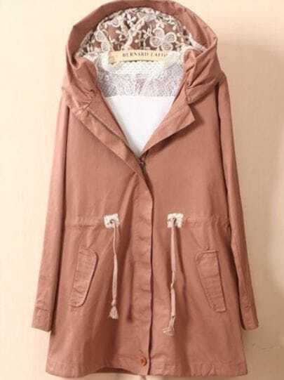 Pink Hooded Lace Drawstring Waist Trench Coat