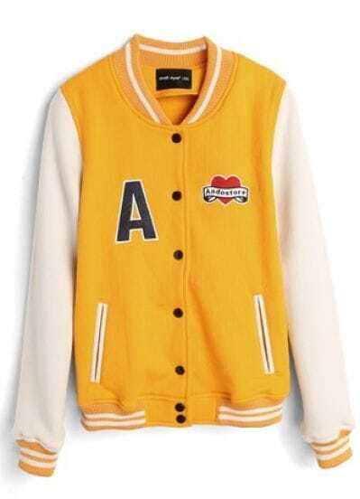 Yellow High Neck White Long Sleeve A Print Baseball Jacket