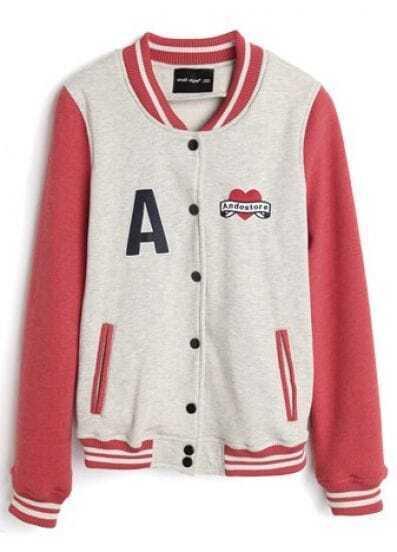 Grey High Neck Red Long Sleeve A Print Baseball Jacket