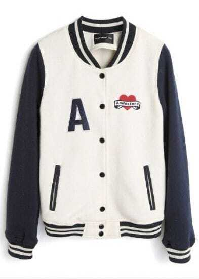 White High Neck Navy Long Sleeve A Print Baseball Jacket