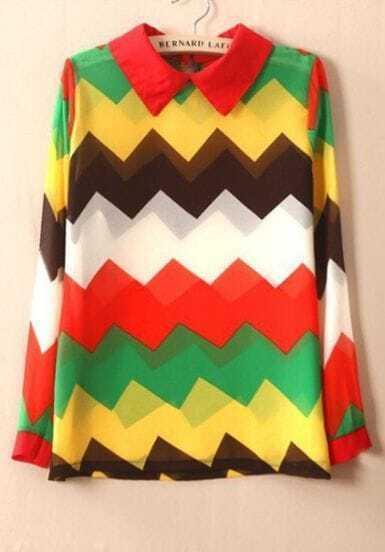 Multi Lapel Long Sleeve Zigzag Sheer Chiffon Blouse