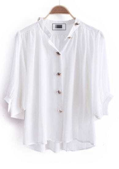 White High Neck Batwing Sleeve Buttons Embellished Blouse