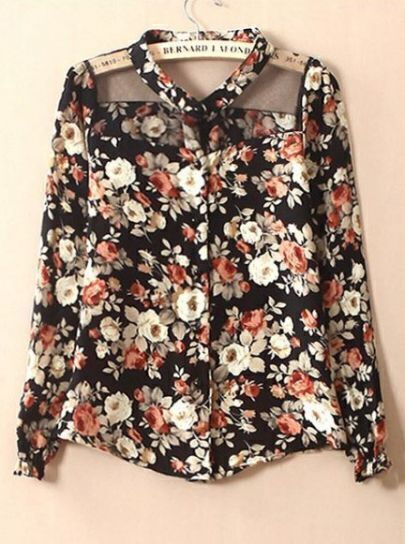Black Contrast Sheer Mesh Yoke Floral Blouse