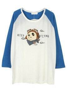 White Blue Long Sleeve Panda Print T-Shirt