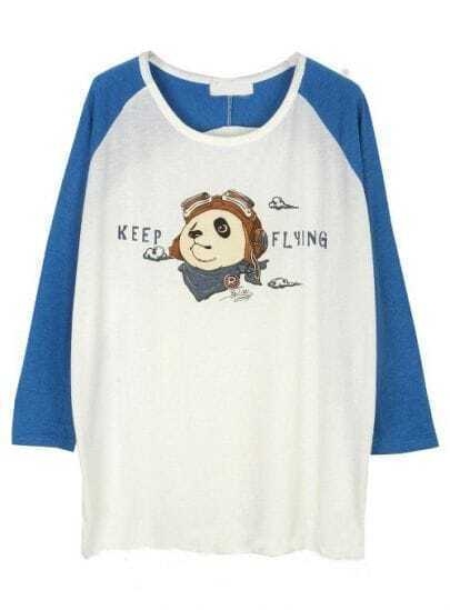 White Blue Long Sleeve Panda Print T-Shirt