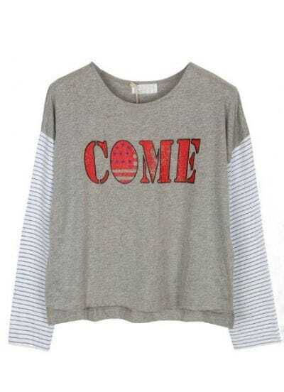 Grey Long Striped Sleeve COME Print T-Shirt